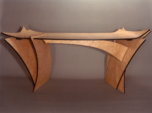 Writing Desk (bent and formed plywood; figured maple veneer)