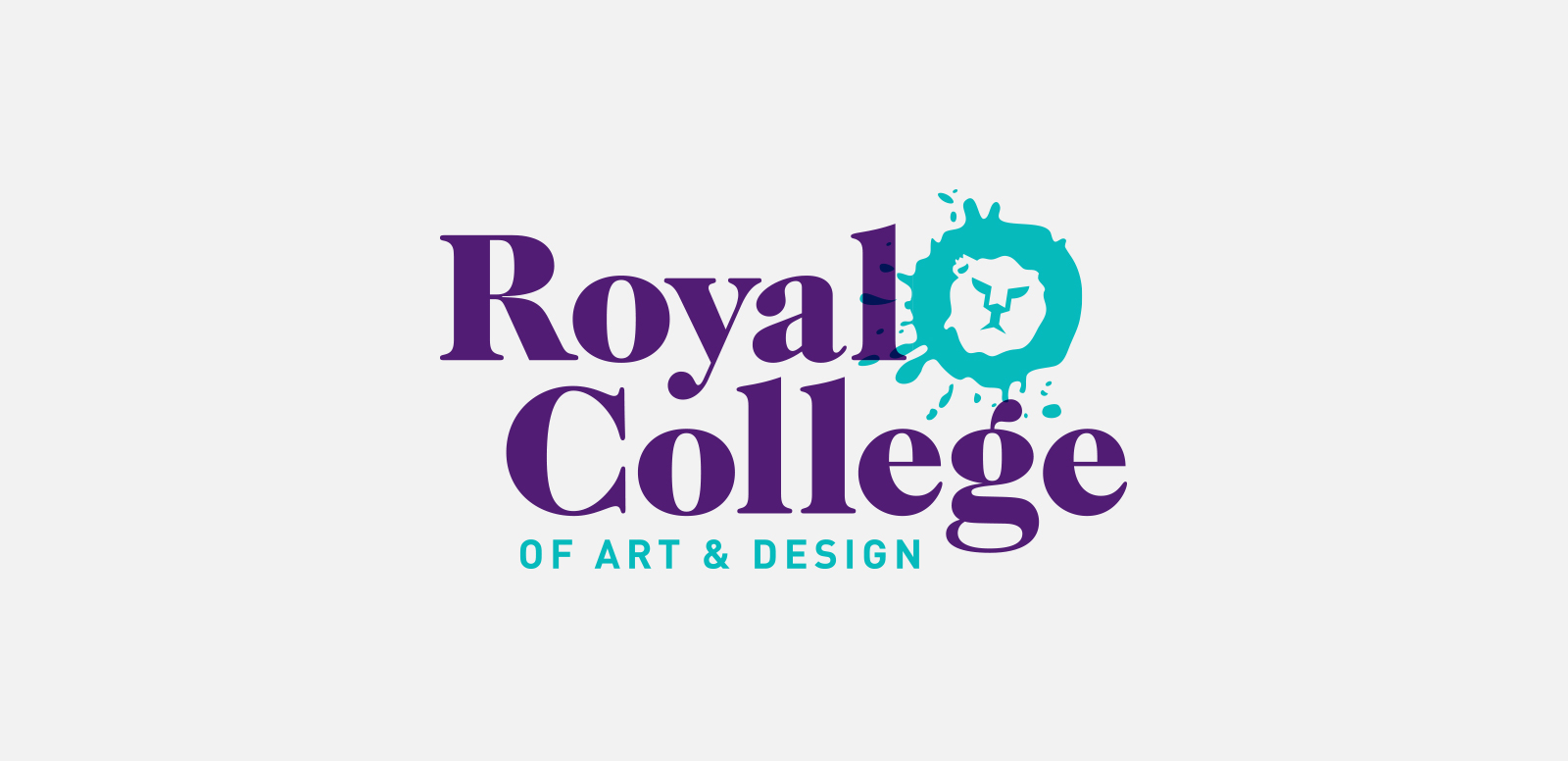 ROYAL COLLEGE OF ART & DESIGN  Logo concept for a London-based art and design school. The lion in their crest was repurposed to create a mascot. Student work, 2015.