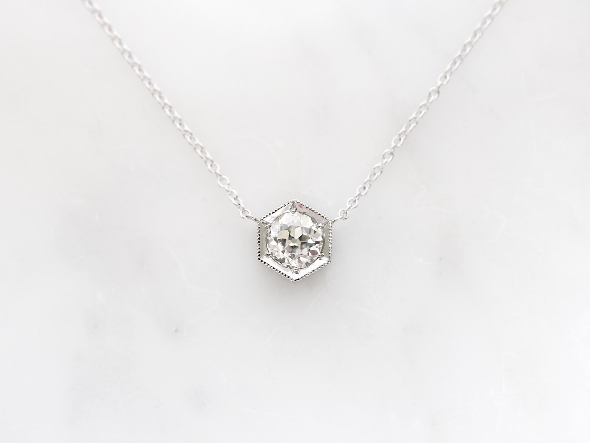 1.76ct old european cut diamond set in 14k white gold hexagon necklace