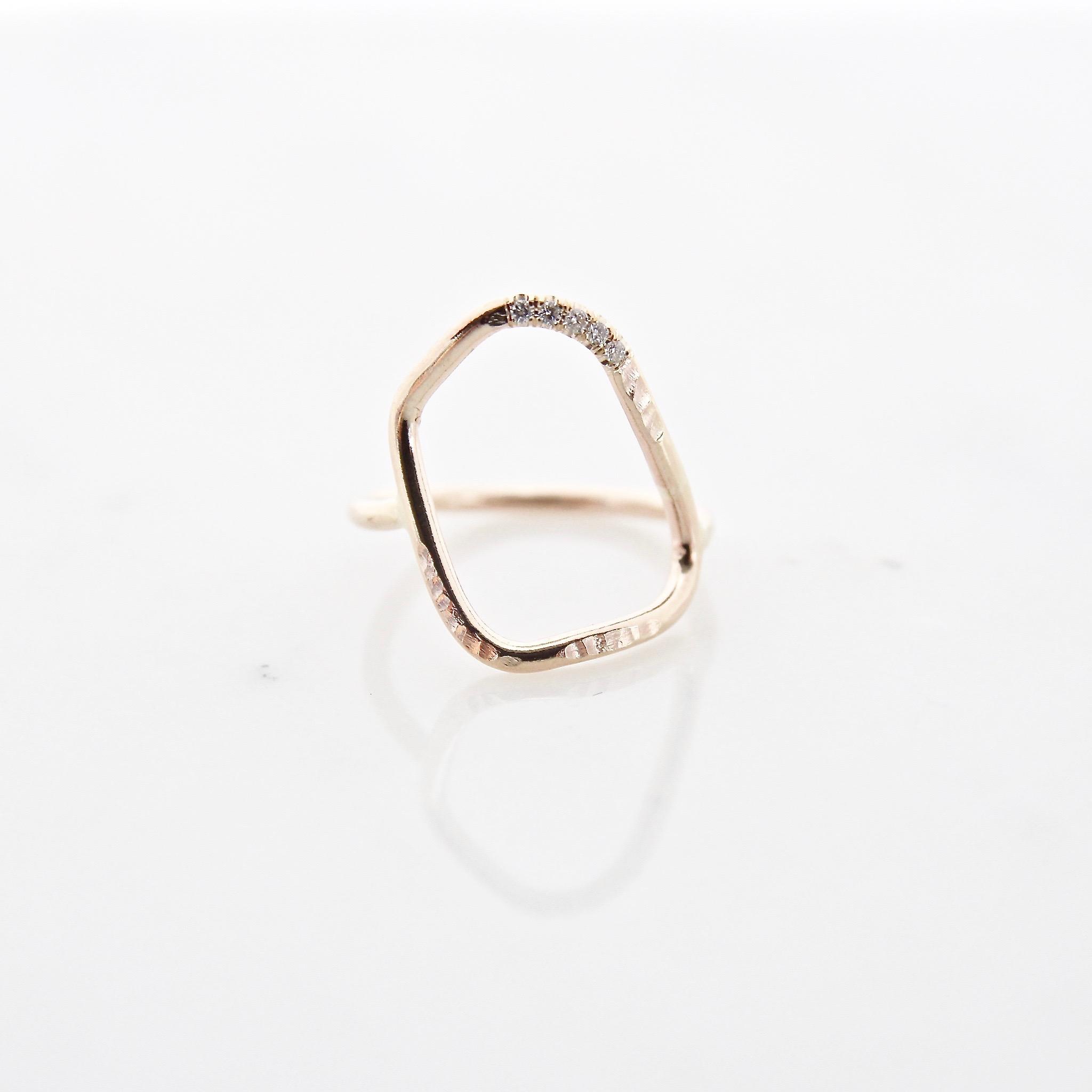 10k yellow gold geo ring with 5 white diamonds