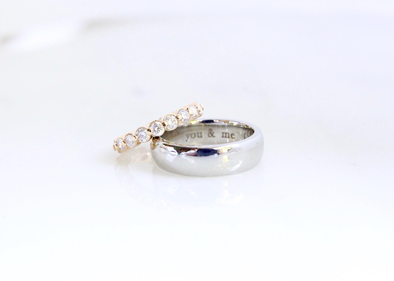 Custom 18k gold and diamond wedding set