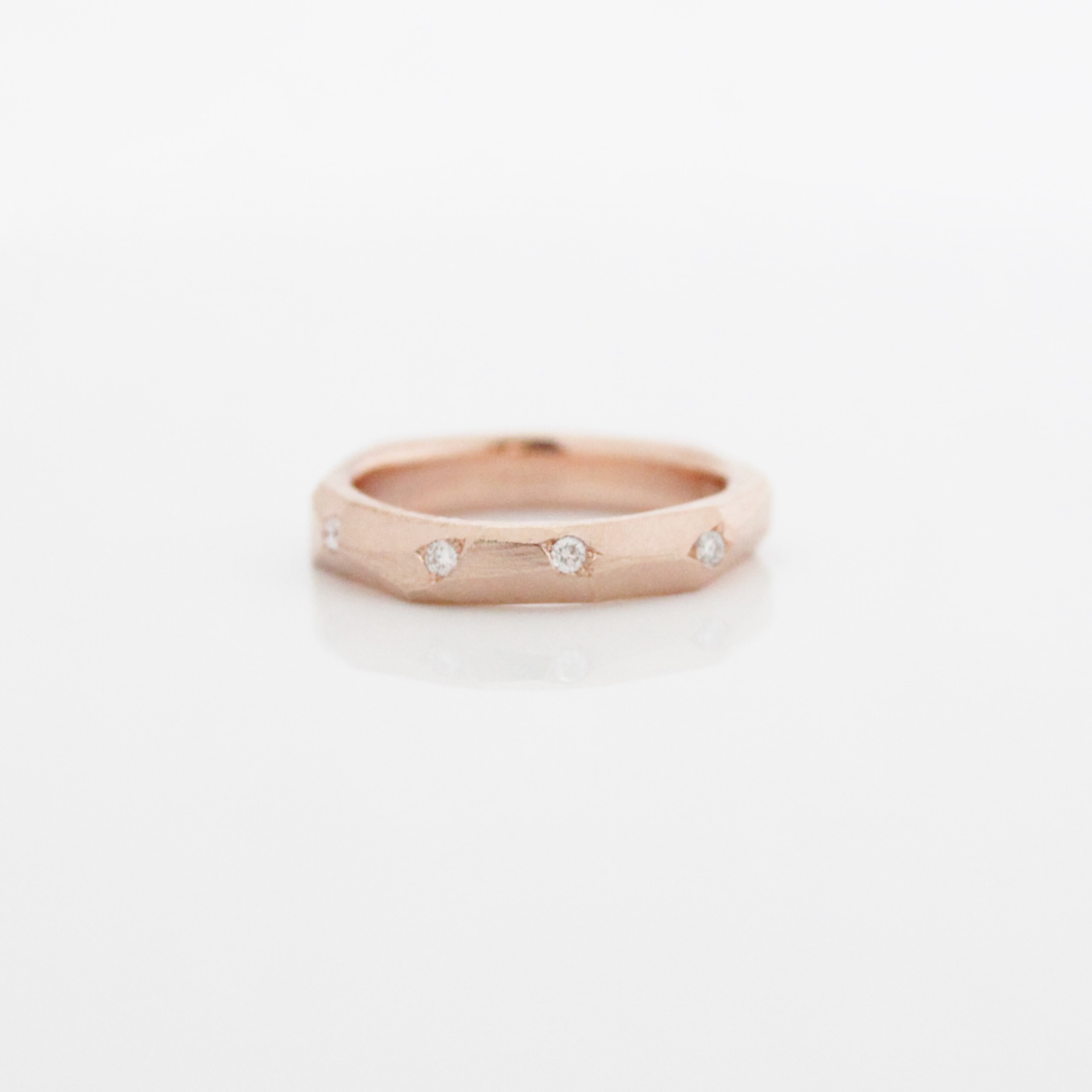 aries faceted band 14k rose gold