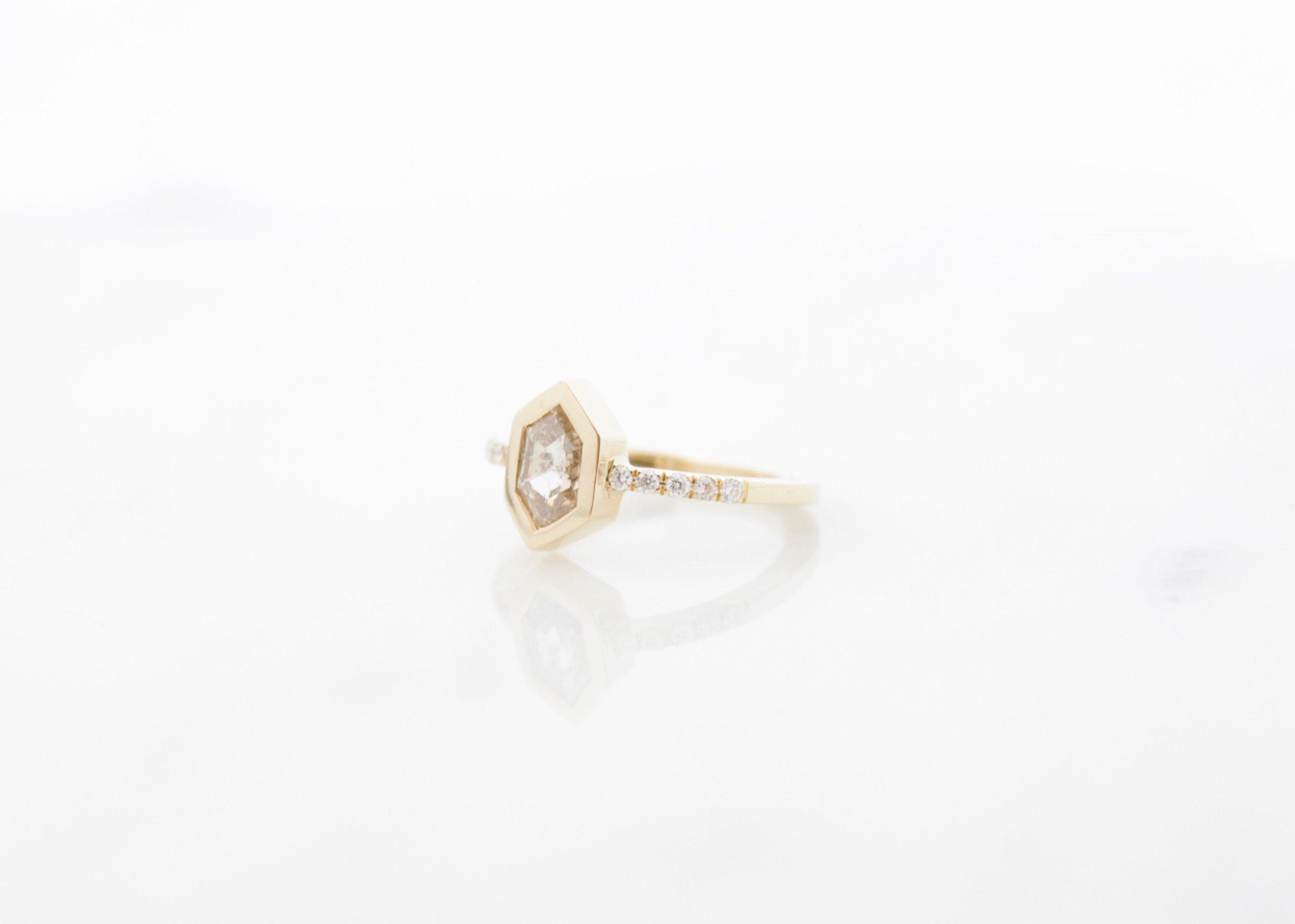 Custom champagne hexagon diamond ring 18k yellow gold