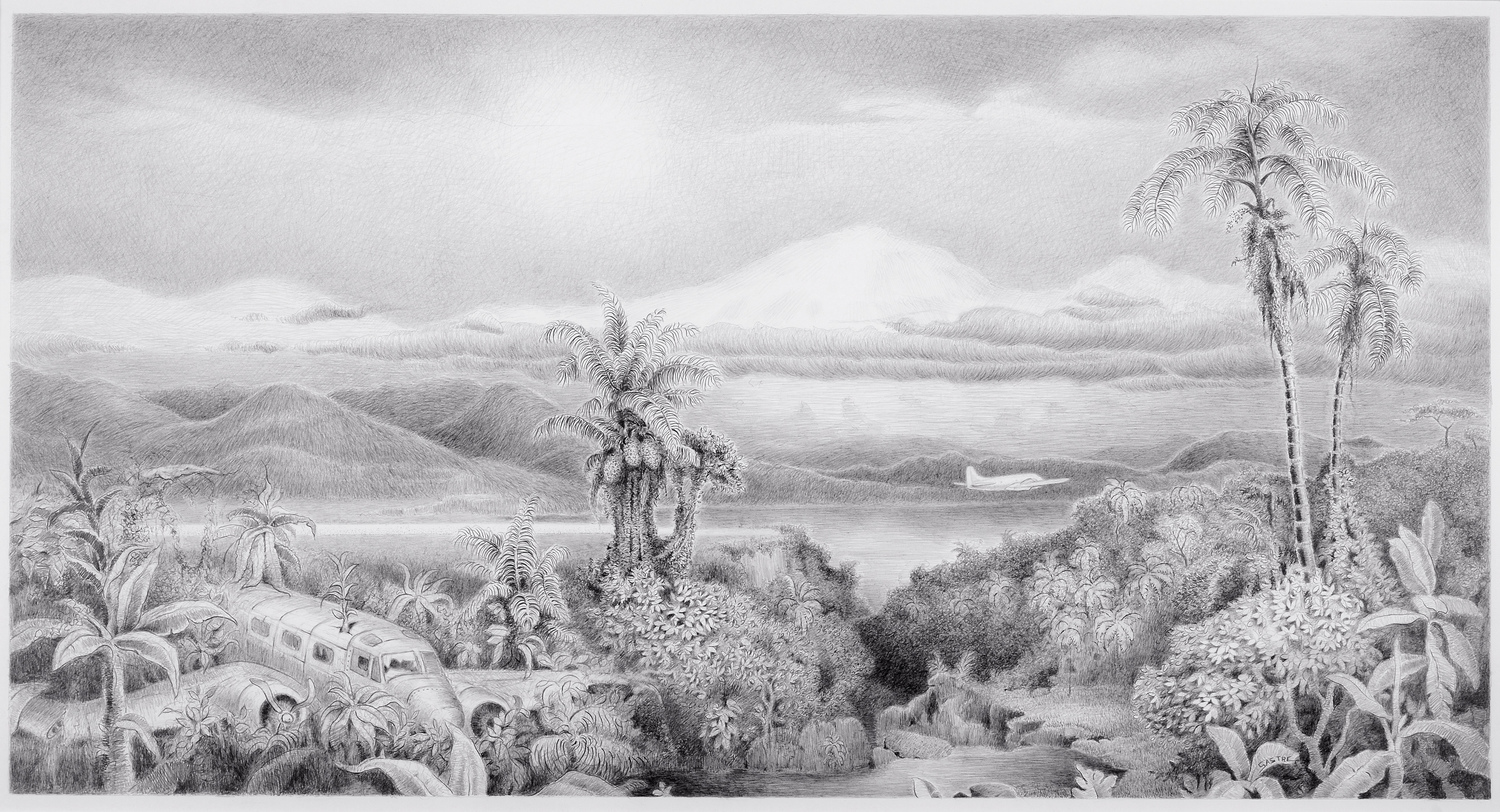 """<style>  P { font-size : 8pt } </style> Andean Odyssey <br> 16x27"""" <br> Graphite"""
