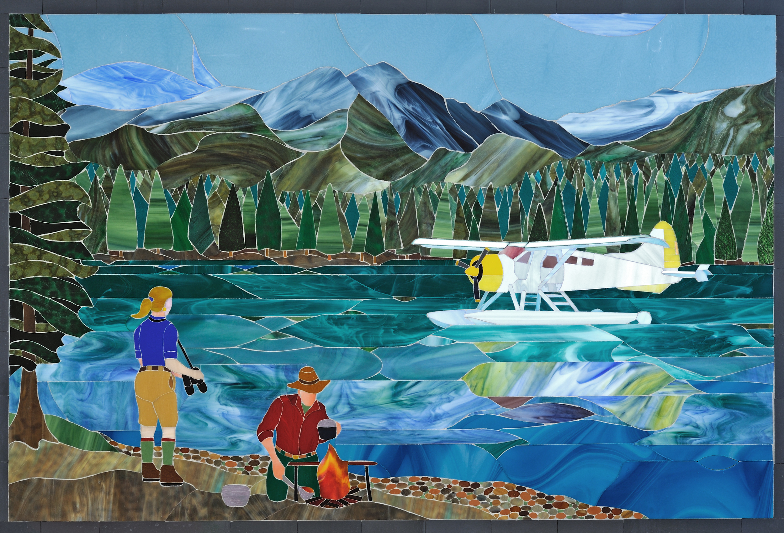 "<style>  P { font-size : 8pt } </style> Flying the Cascades <br> 36x52"" <br> Glass Mosaic"