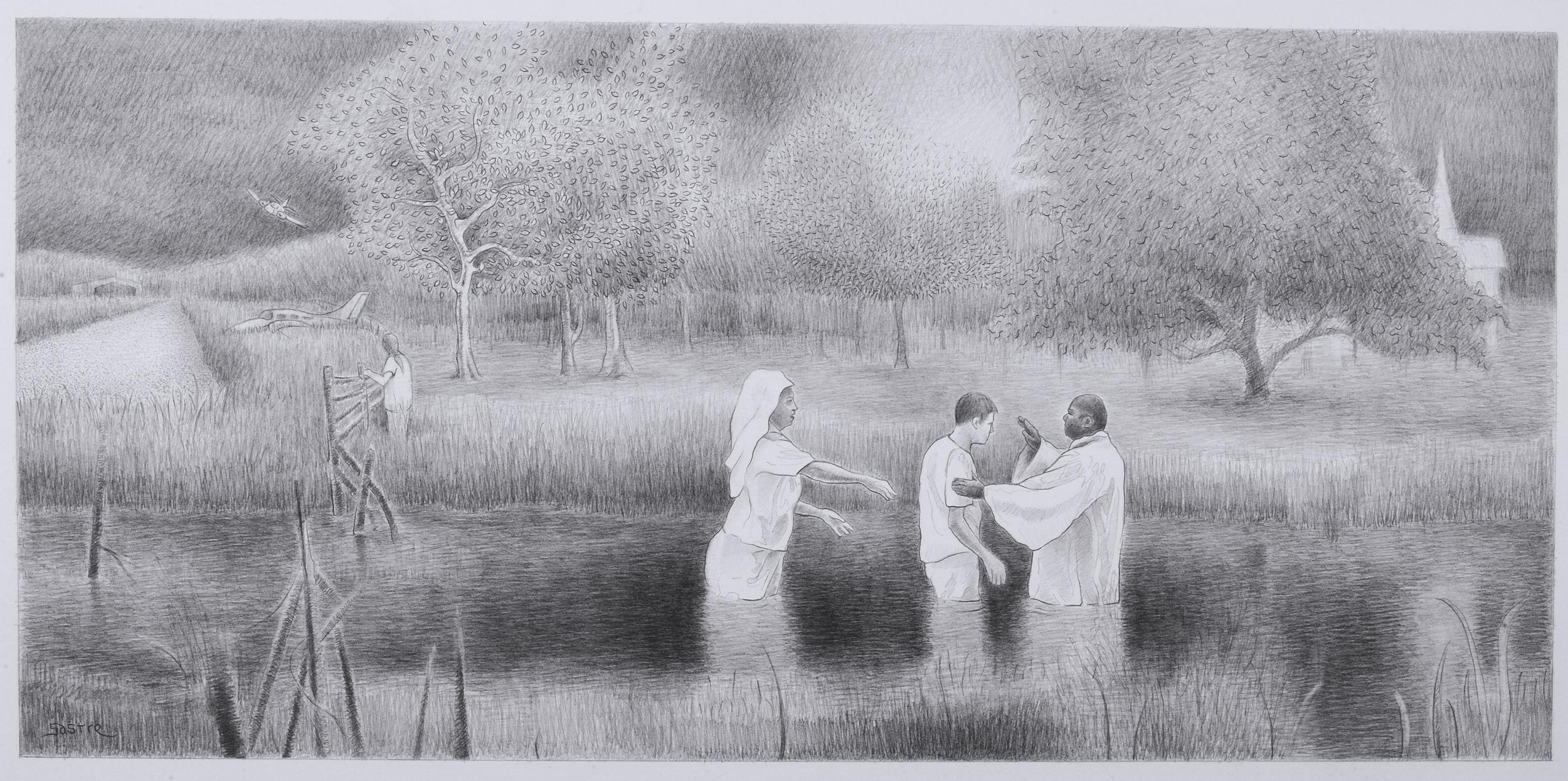 "<style>  P { font-size : 8pt } </style> River Baptism <br> 12x24"" <br> Graphite"