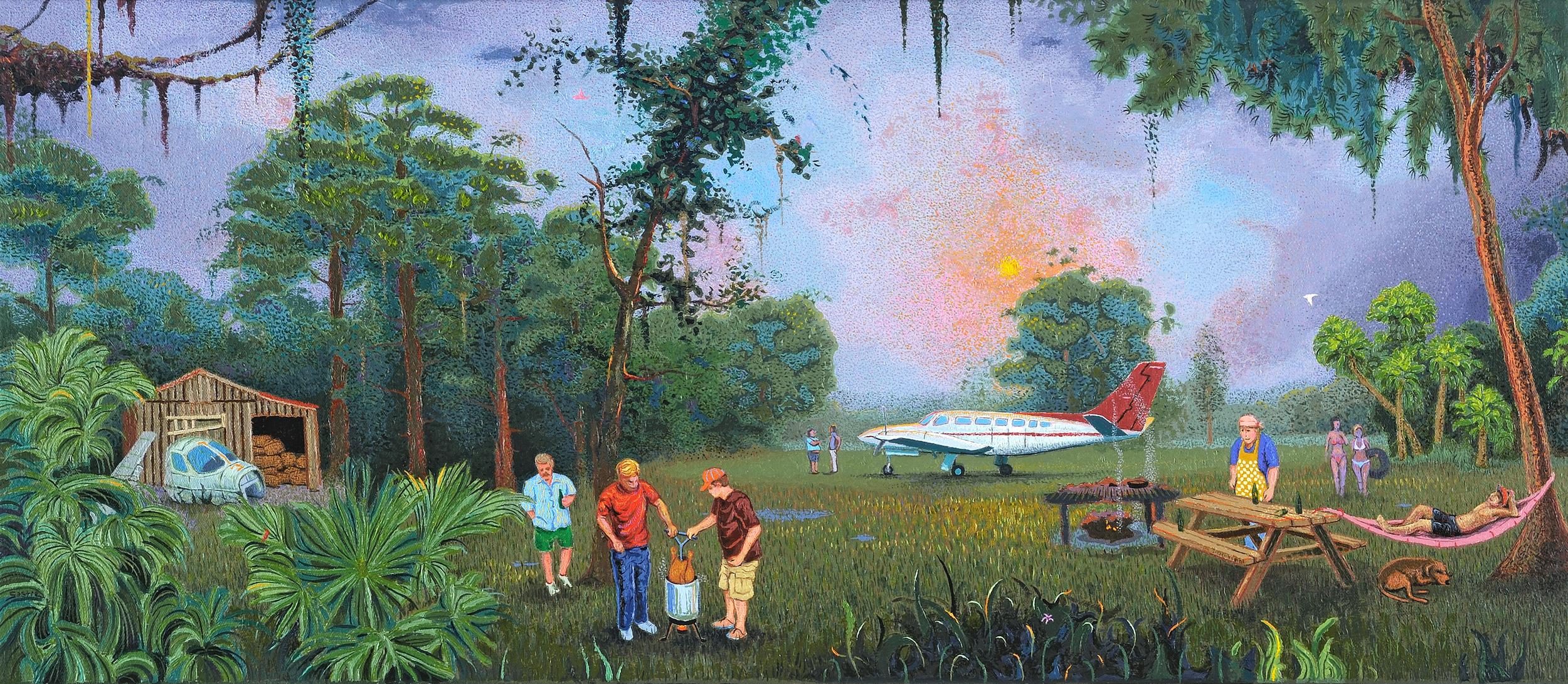 "Celebrating a Good Run  |  14x32""  |  Oil on Canvas"