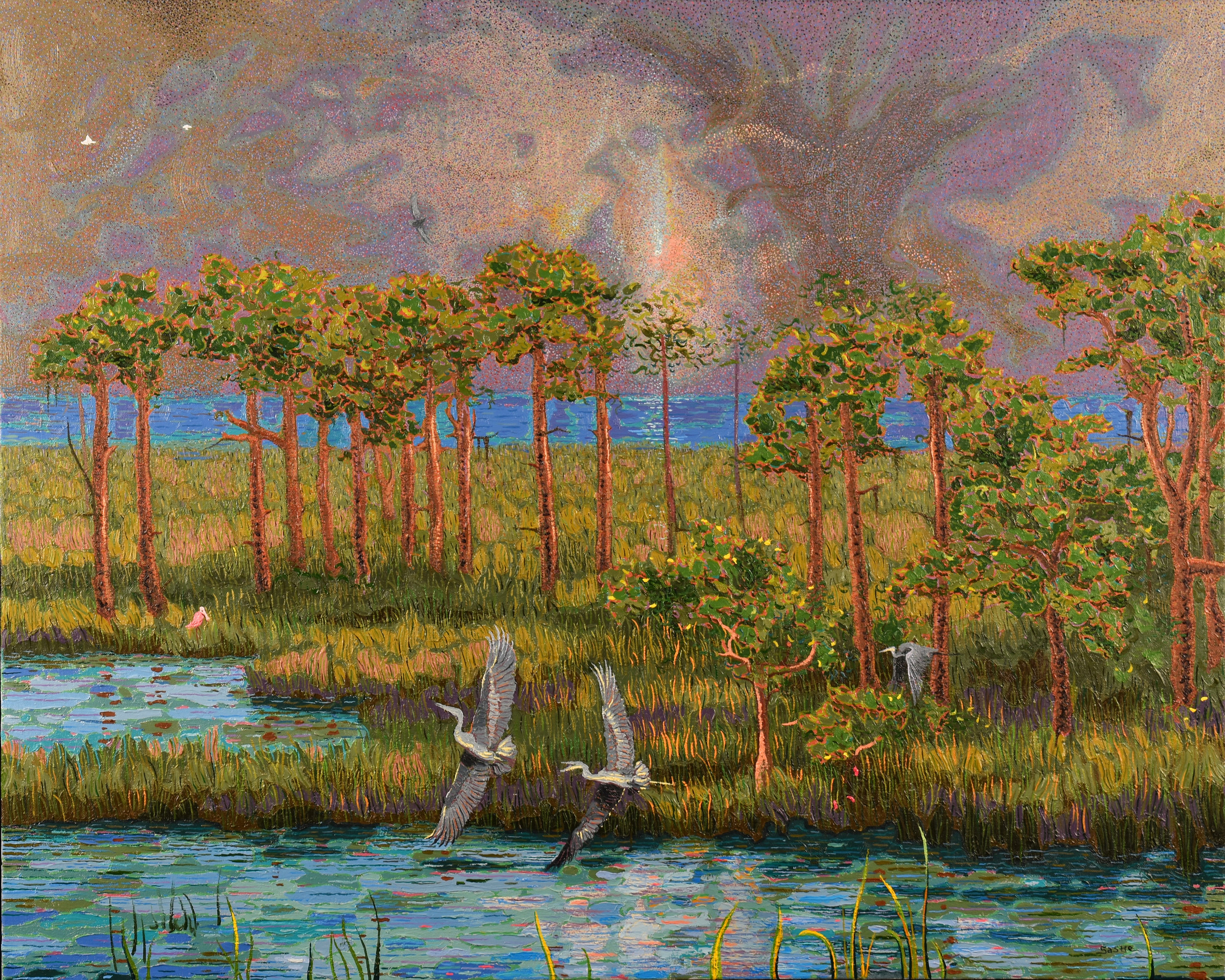 "Herons in Flight  |  24x30""  |  Oil on Canvas"