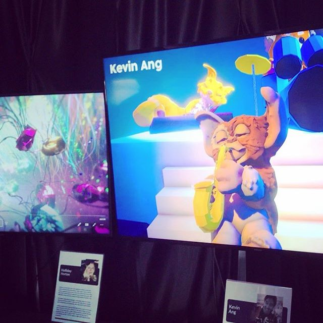 #vr artists Kevin Ang @bingkoland and Holiday Horton @3dholliday amazing work at the @SausArtFestival. Displays provided by sponsor @xrmarin #arttech #immersiveart #sausalitoartfestival