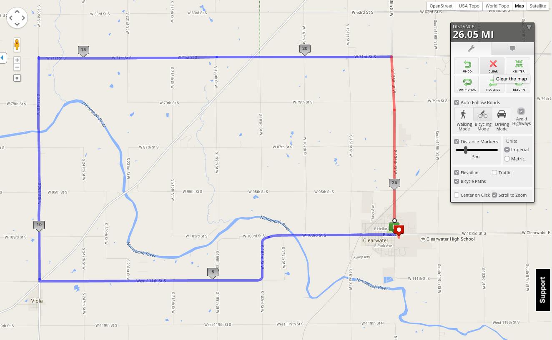 heathers ride 25 mile map