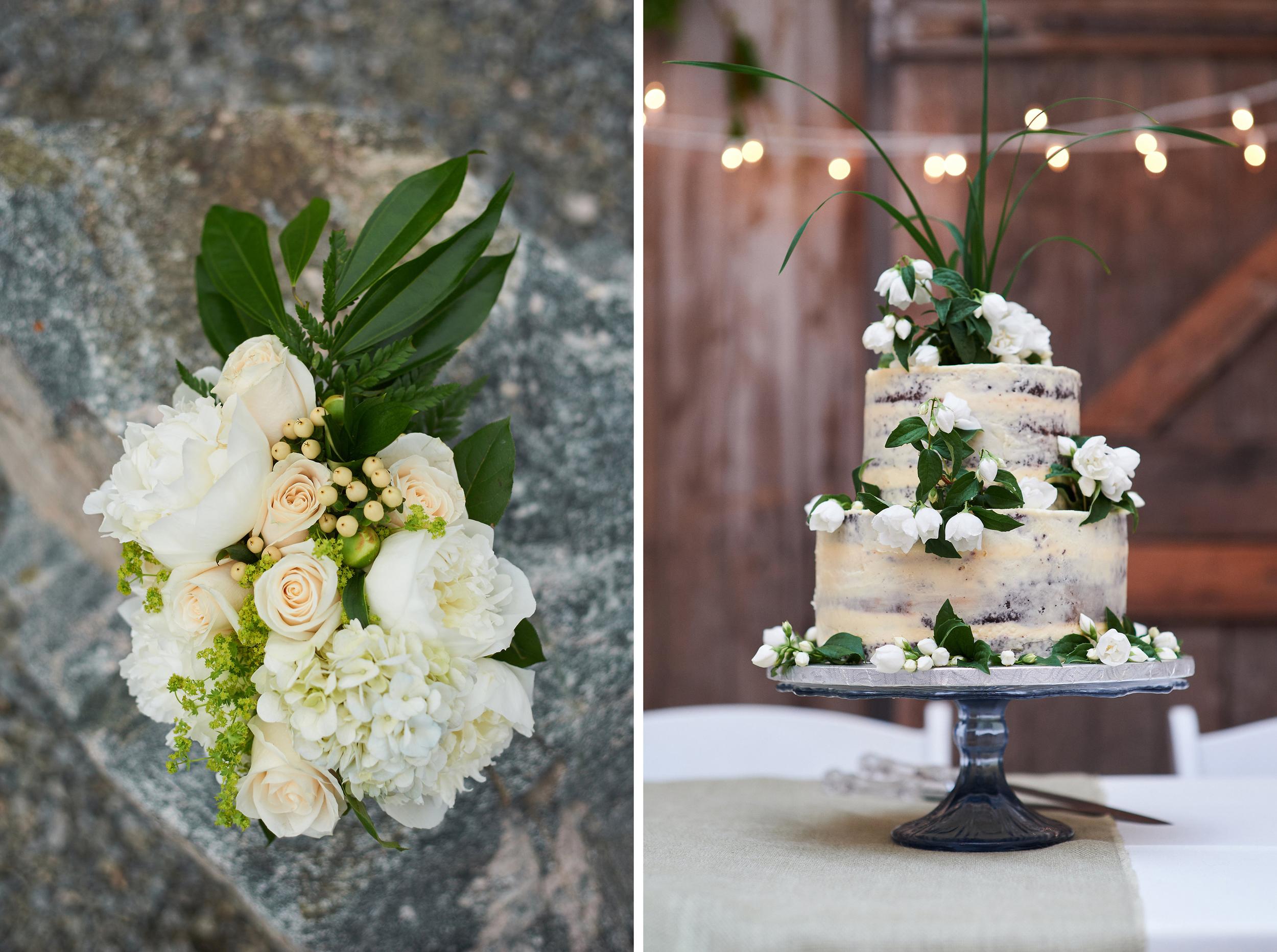 wedding bouquet and wedding cake