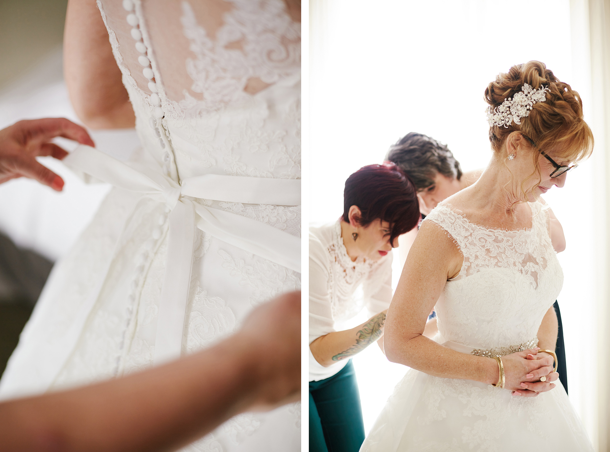 Tying the wedding gown bow