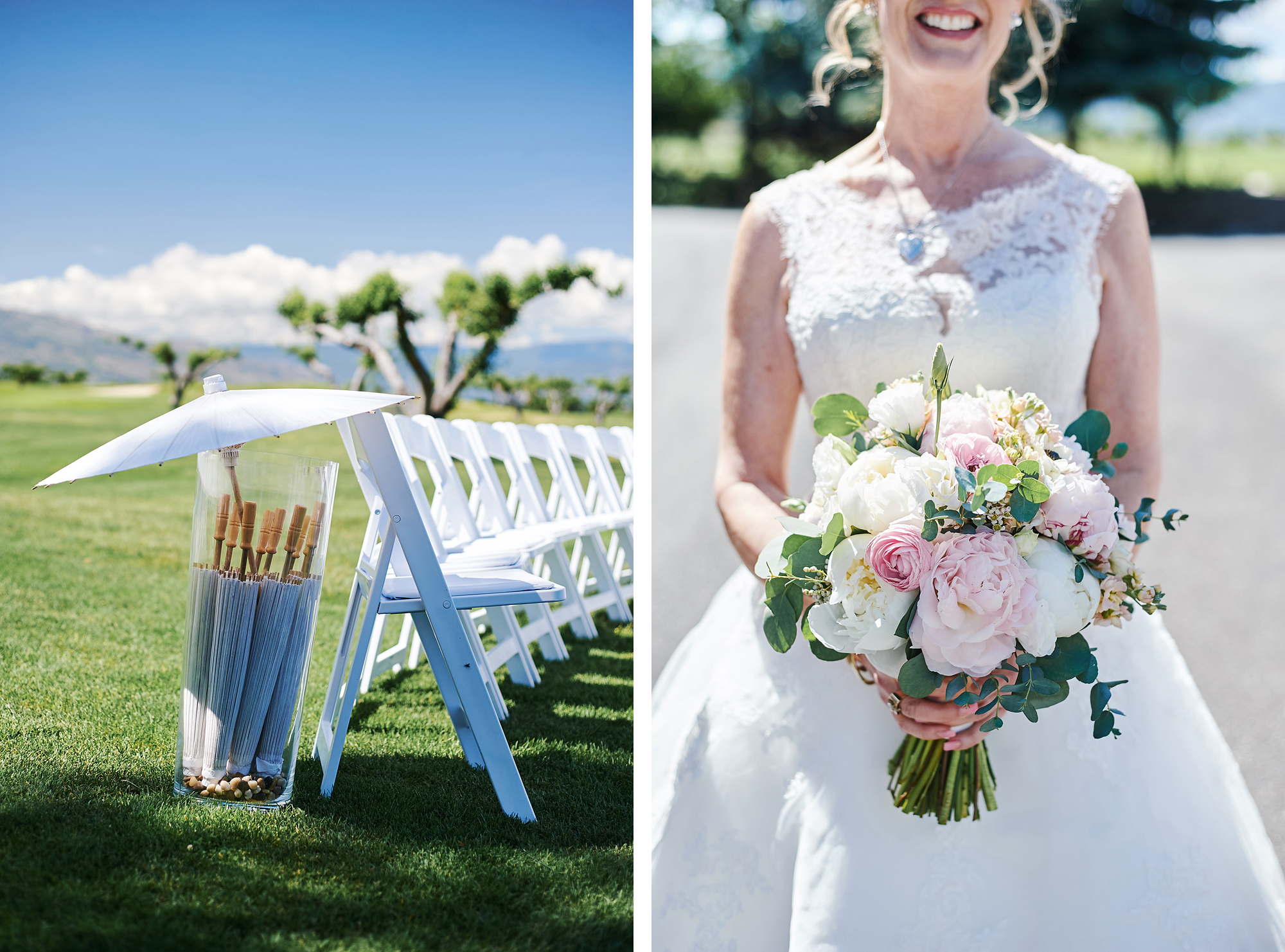Sun shades and the bridal bouquet