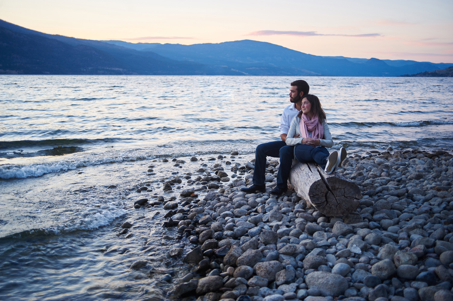 late evening engagement session