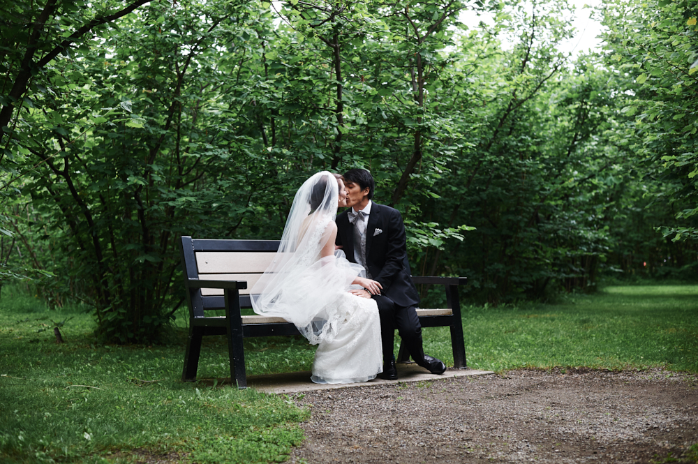 bride and groom kiss in gellatly nut farm