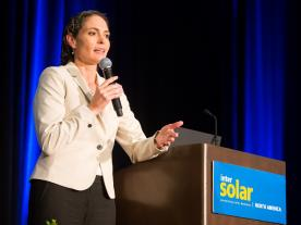 Bernadette del Chiaro, Executive Director of California Solar Energy Industries Association (CALSEIA) was one of the speakers of the opening ceremony of Intersolar 2016 North America yesterday evening in San Francisco.