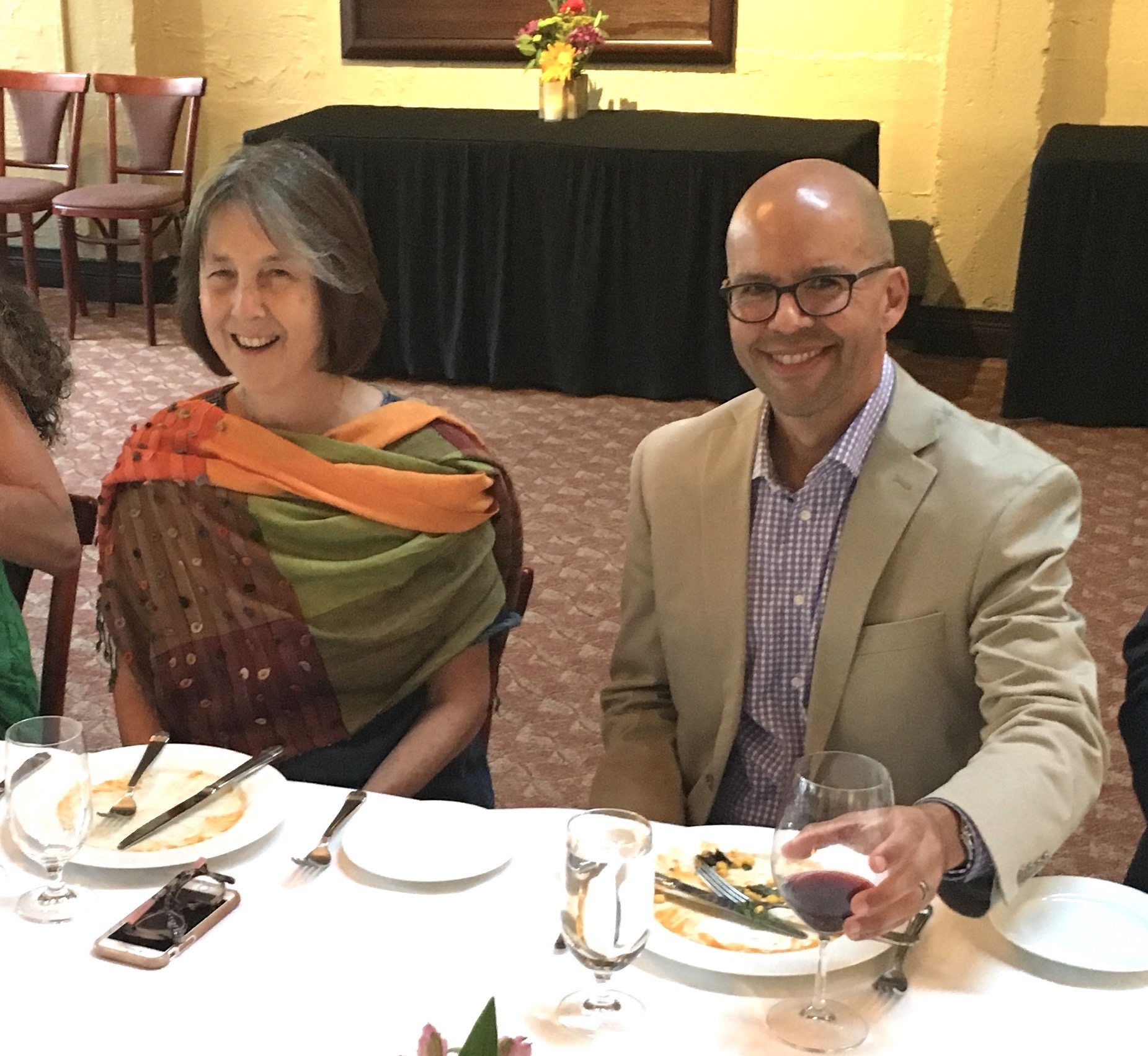 CALSSA lobbyist Will Gonzalez and Sen. Nancy Skinner enjoy some time together