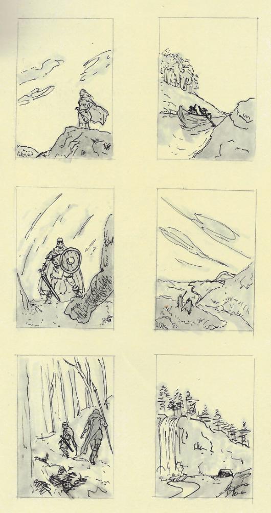 """Thumbnail sketches for """"Eirik's Fall""""."""