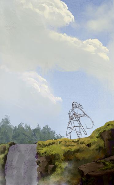 "A work in progress shot of ""Eirik's Fall""."