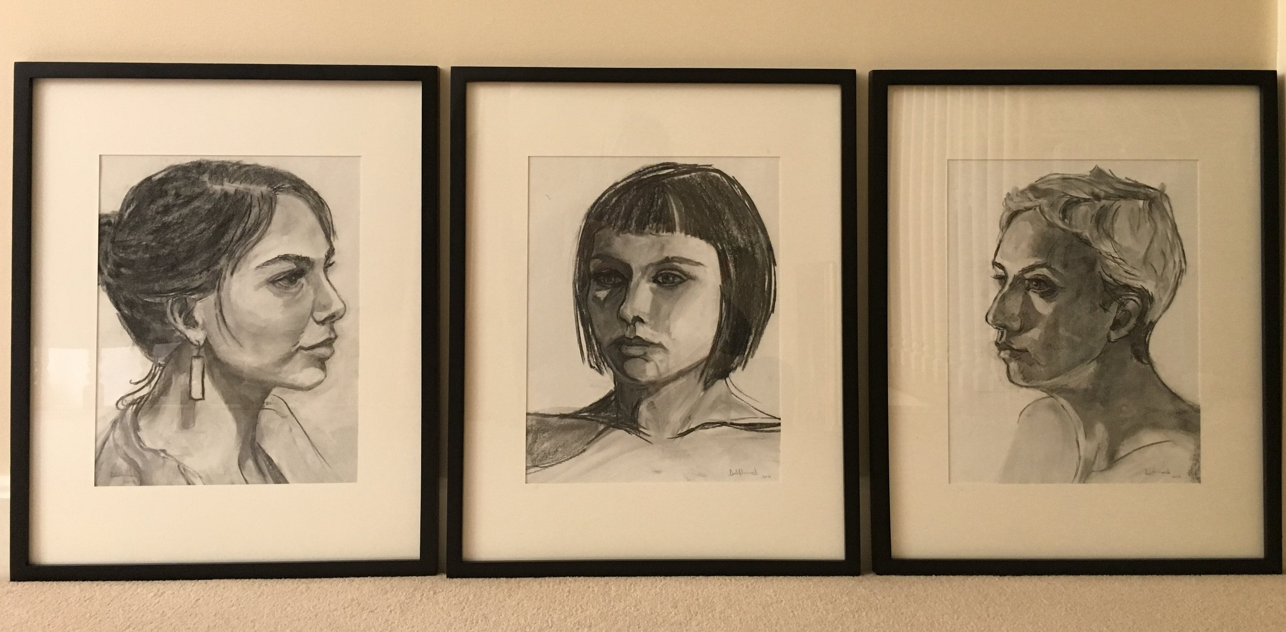 Charcoal portraits on view at 100 Market Gallery Portsmouth June 7 - Sept 6
