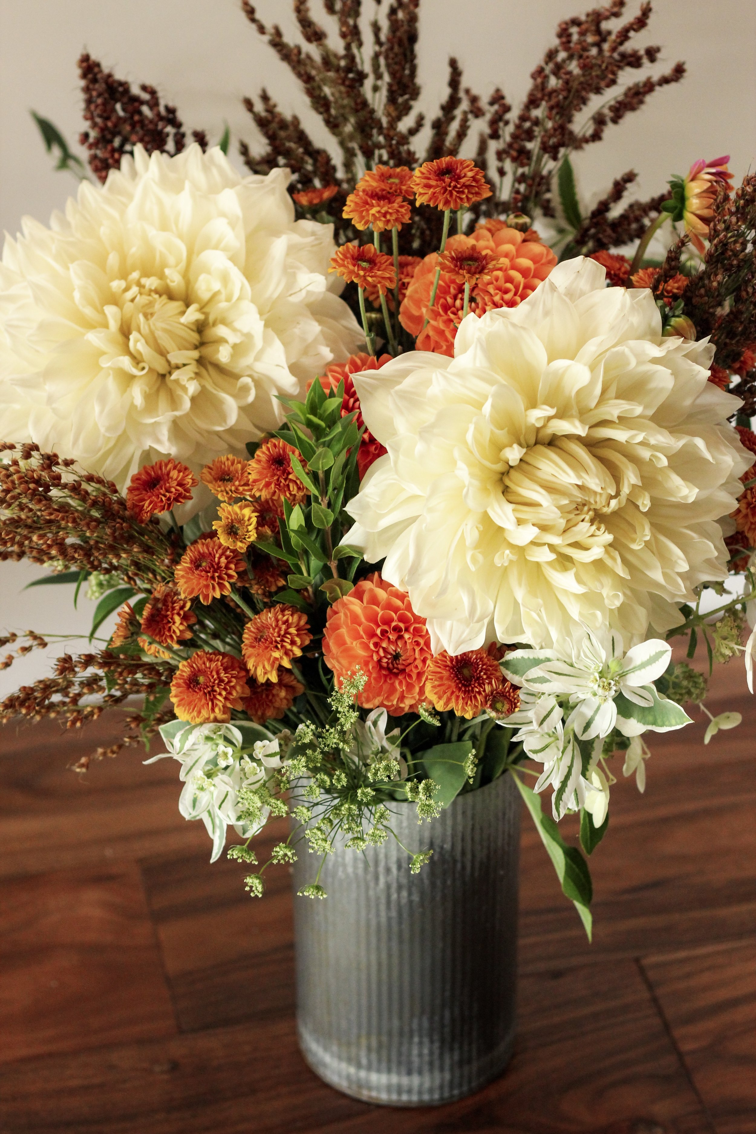Dinner Plate dahlia white and orange fall inspired farmers choice arrangement- Roots and Wildflowers