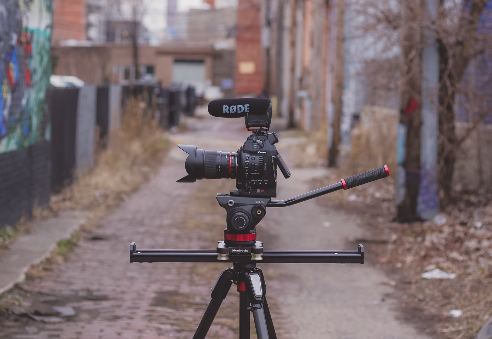 (Chicago, IL) {Pictured: Rode Video Mic Pro, Canon C100, Manfrotto 502 fluid head, Manfrotto 60cm slider, Manfrotto 055 CF tripod}