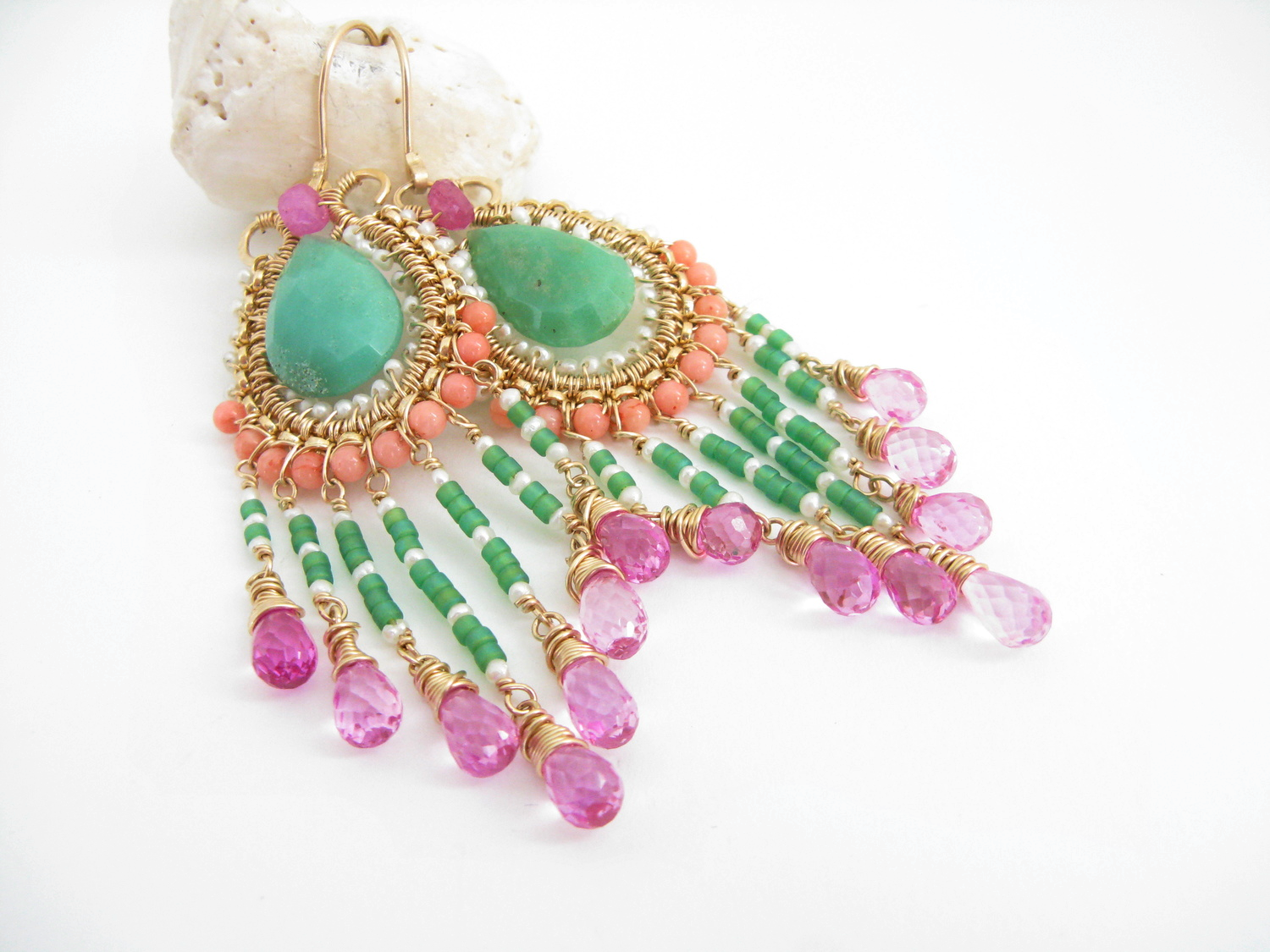 Chrysoprase, coral, pearl, pink topaz, 14k Rolled Gold chandelier earrings.