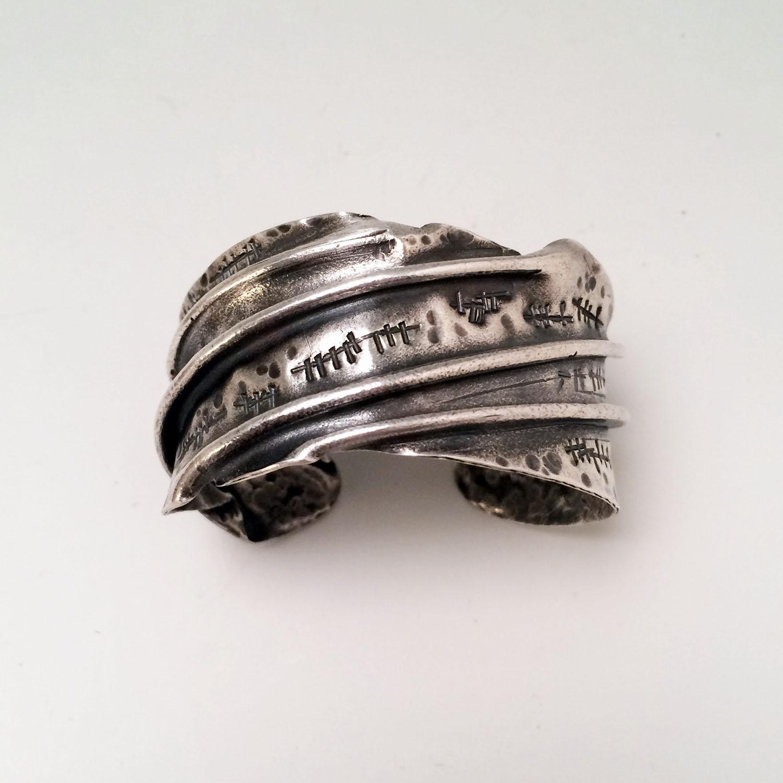 Fine silver fold form cuff bracelet