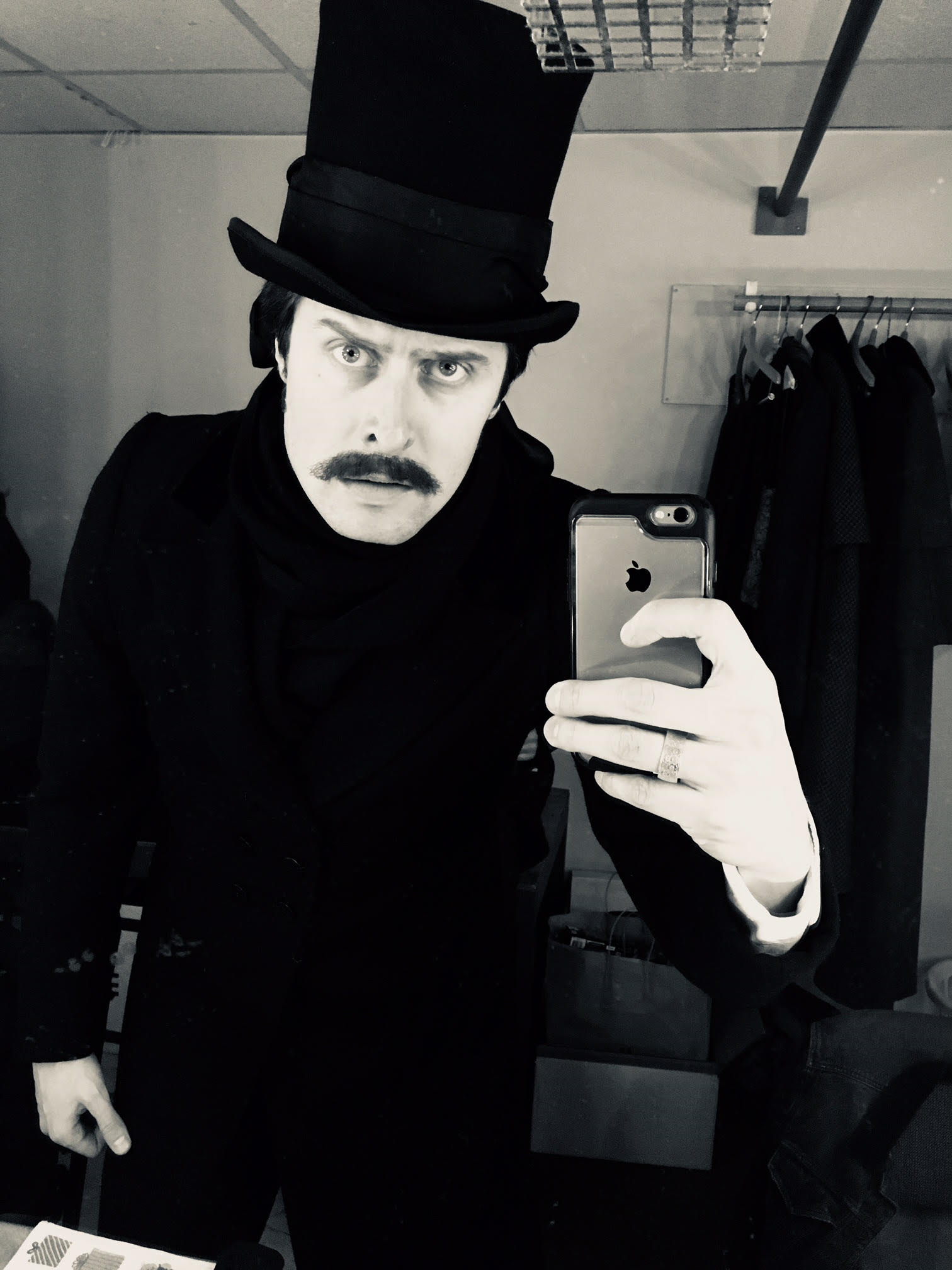 In the dressing room, as the Undertaker, before the final performance of A Christmas Carol.