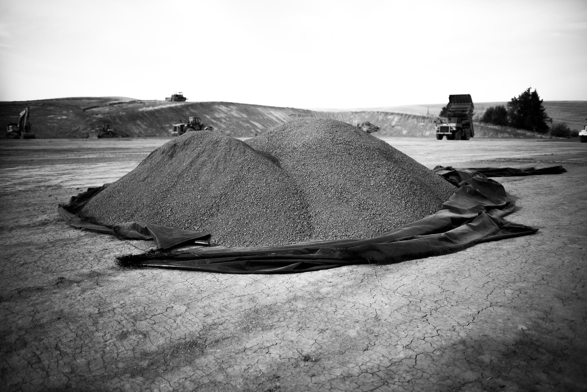 gravel pile.