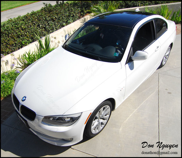 BMW E92 328i Coupe - Gloss Black Roof and Window Trim Vinyl Car Wrap