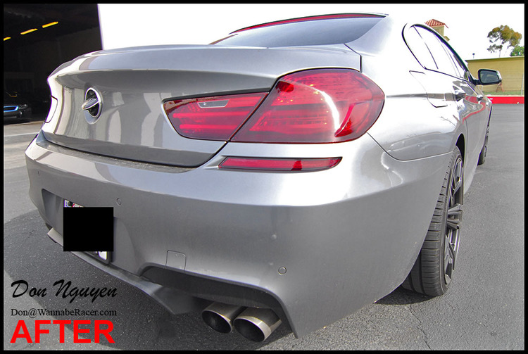BMW F06 650i Gran Coupe - Smoke/Tinted Tail Lights and Gloss Black Roof Car Wrap