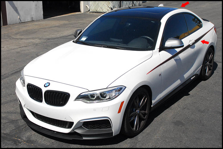 BMW F22 M235i Coupe - Gloss Black Vinyl Roof & M Performance Side Accents Car Wrap
