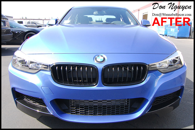 "BMW F30 335i Sedan - Gloss Black Front Bumper ""Splitters"" Car Wrap"