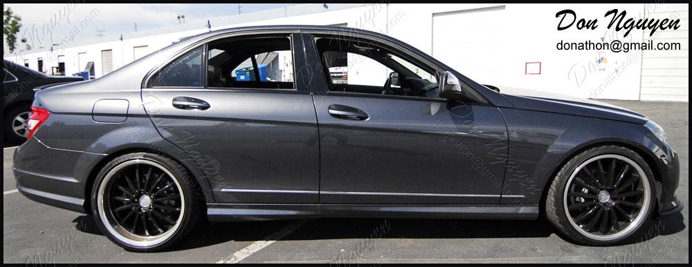 Mercedes Benz C300 Sedan - Matte Black Window Trim Vinyl Car Wrap