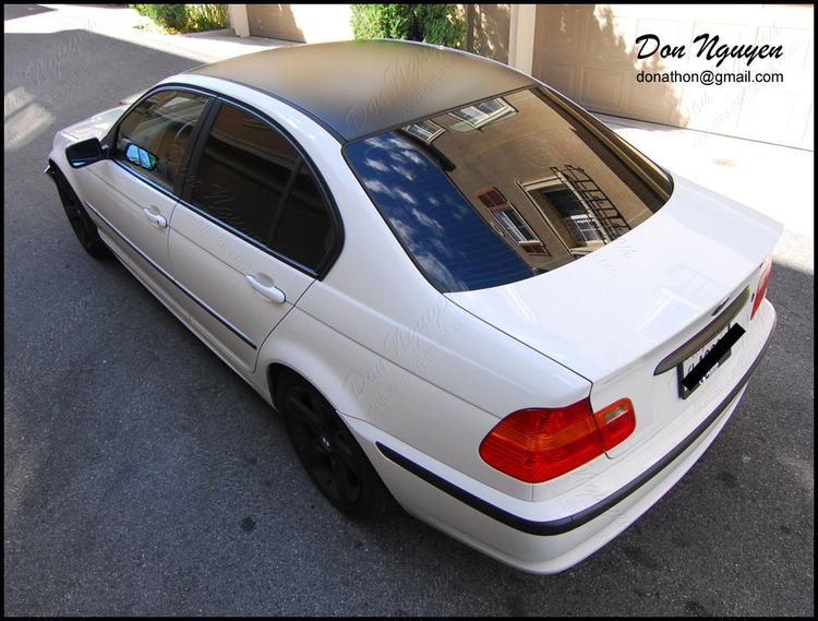 BMW 325i E46 Sedan - Matte Black Roof Vinyl Car Wrap