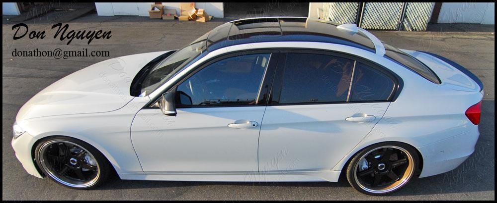 BMW F30 335i Sedan - Gloss Black Roof and Window Trim Vinyl Car Wrap