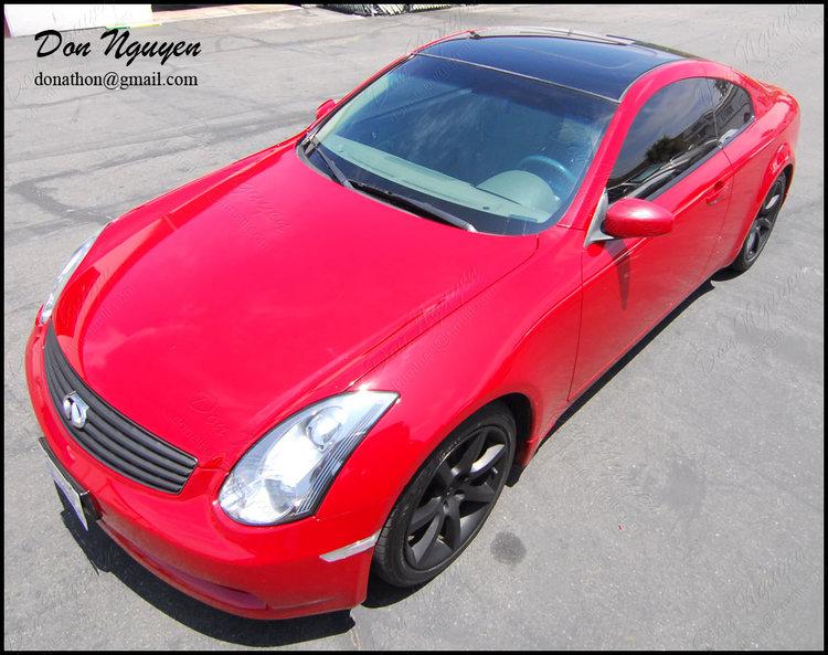Infiniti G35 Coupe - Gloss Black Roof Vinyl Car Wrap