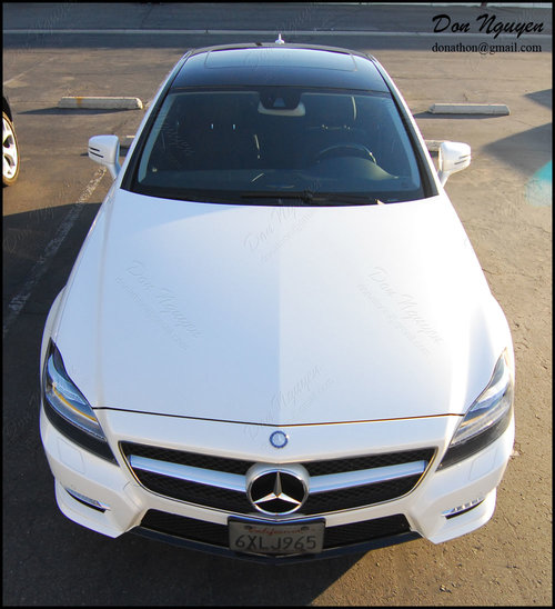 Mercedes Benz CLS 550 Sedan - Matte Black Window Trim, Roof, and Tinted Rear Lights Vinyl Wrap