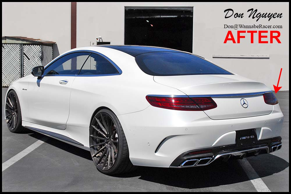 Mercedes S63 Coupe - Gloss Black Roof, Tinted / Smoked Head and Tail Lights, Gloss Black Front Bumper Trim