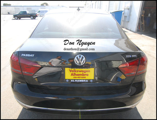 VW Passat Sedan - Tinted / Smoked Rear Tail Lights and Matte Black Window Trim Vinyl Car Wrap