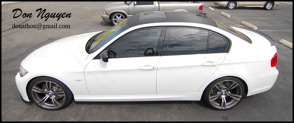 BMW E90 335i Sedan - 3M Gloss Carbon Fiber Roof Vinyl Car Wrap