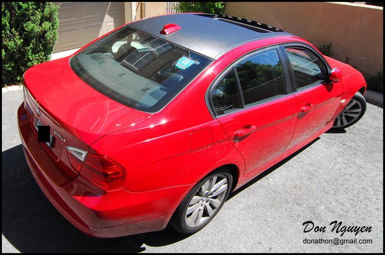 BMW E90 325i Sedan - Tinted / Smoked Rear Tail Lights & Matte Carbon Fiber Roof Vinyl Car Wrap