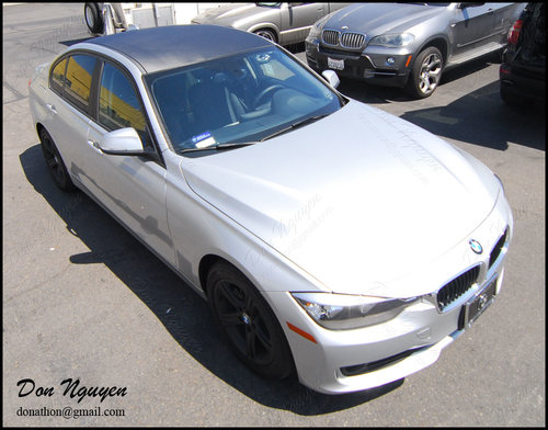 BMW F30 325i Sedan - 3M Di-noc Matte Carbon Fiber Roof Vinyl Car Wrap