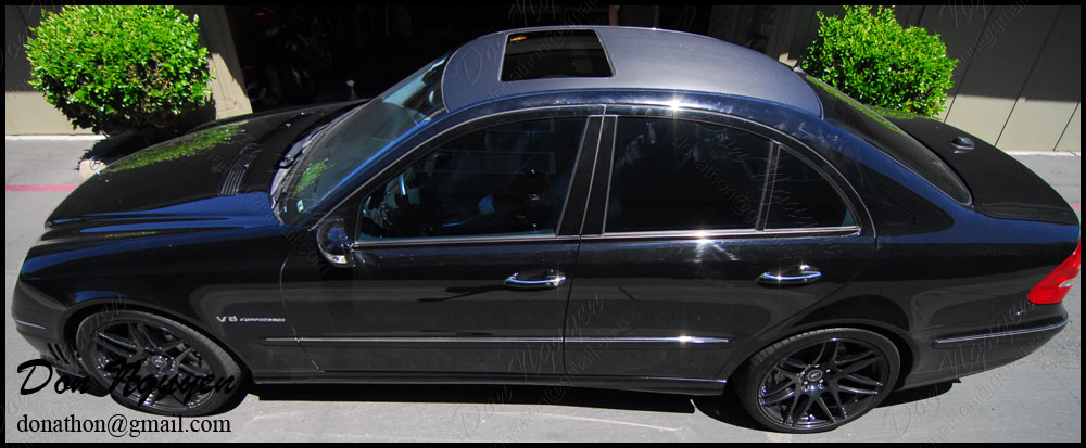 Mercedes Benz E55 AMG Sedan - 3M Di-noc Matte Carbon Fiber Roof vinyl Car Wrap