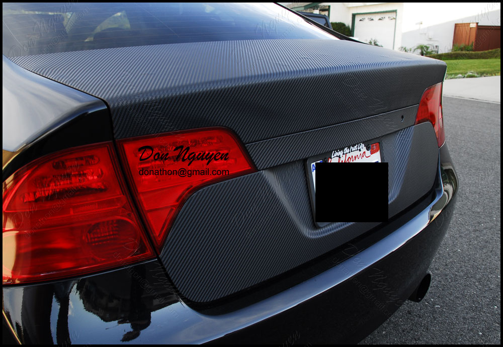 Honda Civic Sedan - 3M Matte Carbon Fiber Trunk Vinyl Car Wrap