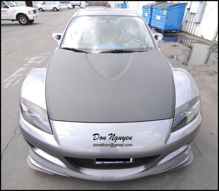 Mazda RX8 Coupe - Matte Carbon Fiber Hood Vinyl Car Wrap