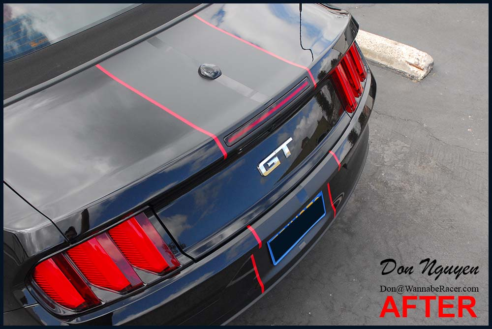 Mustang GT Convertible 5.0 - Matte Black Stripes with Red Pin Stripes Vinyl Wrap