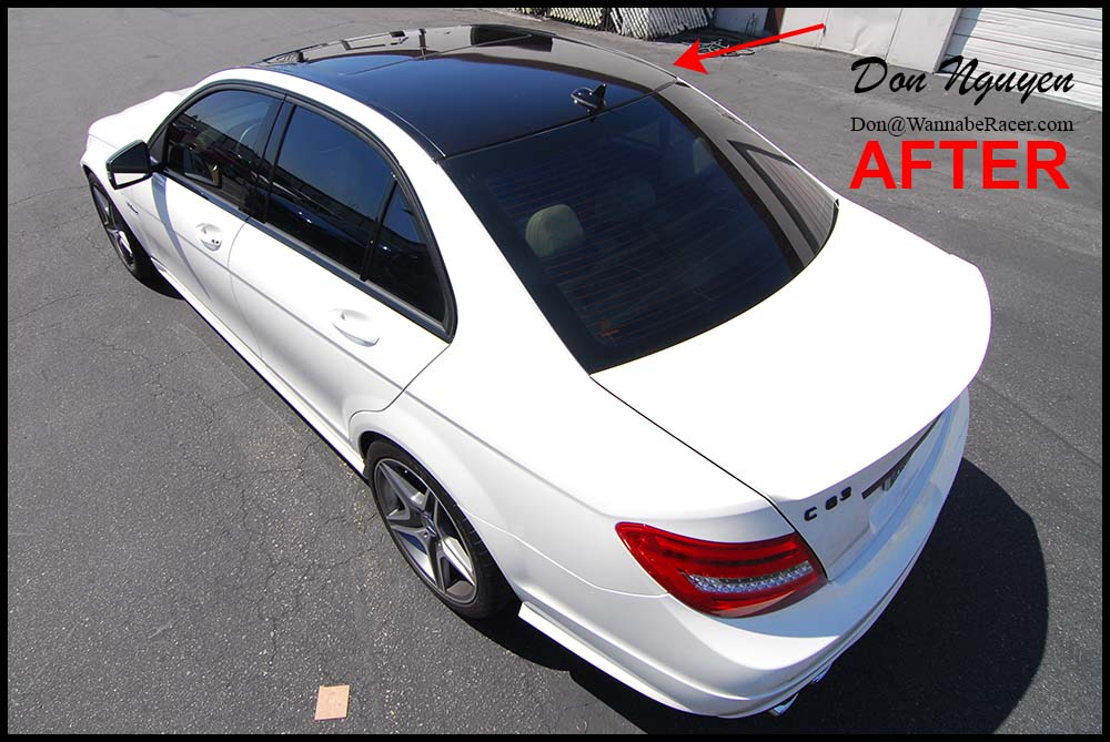 Mercedes Benz C63 AMG Sedan - Gloss Black Roof and Window Trim Vinyl Car Wrap