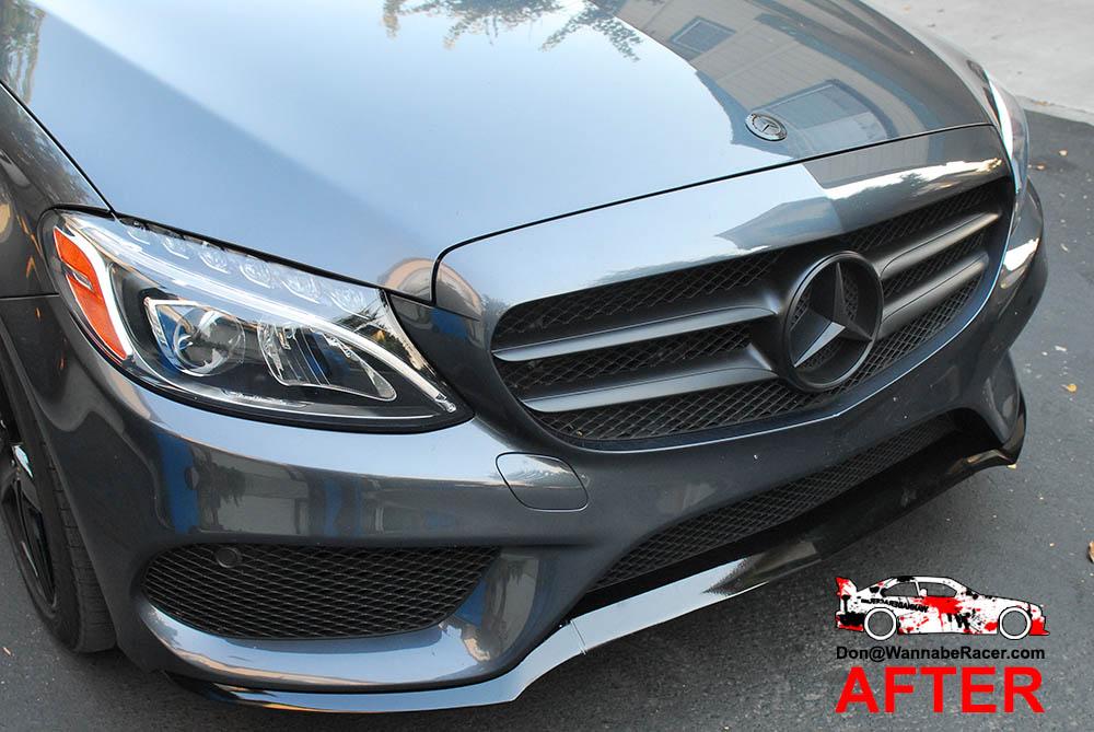 Mercedes Benz C400 - Gloss Black Window Trim, Front Lip, & Door Handles Vinyl Car Wrap